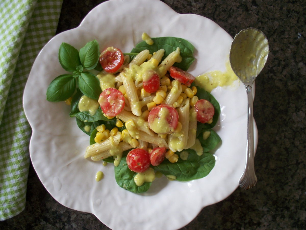 Corn Tomato Pasta Salad with Basil Goddess Dressing
