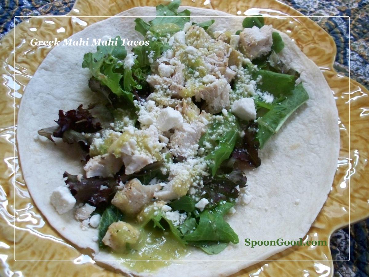 Greek Mahi Mahi Tacos