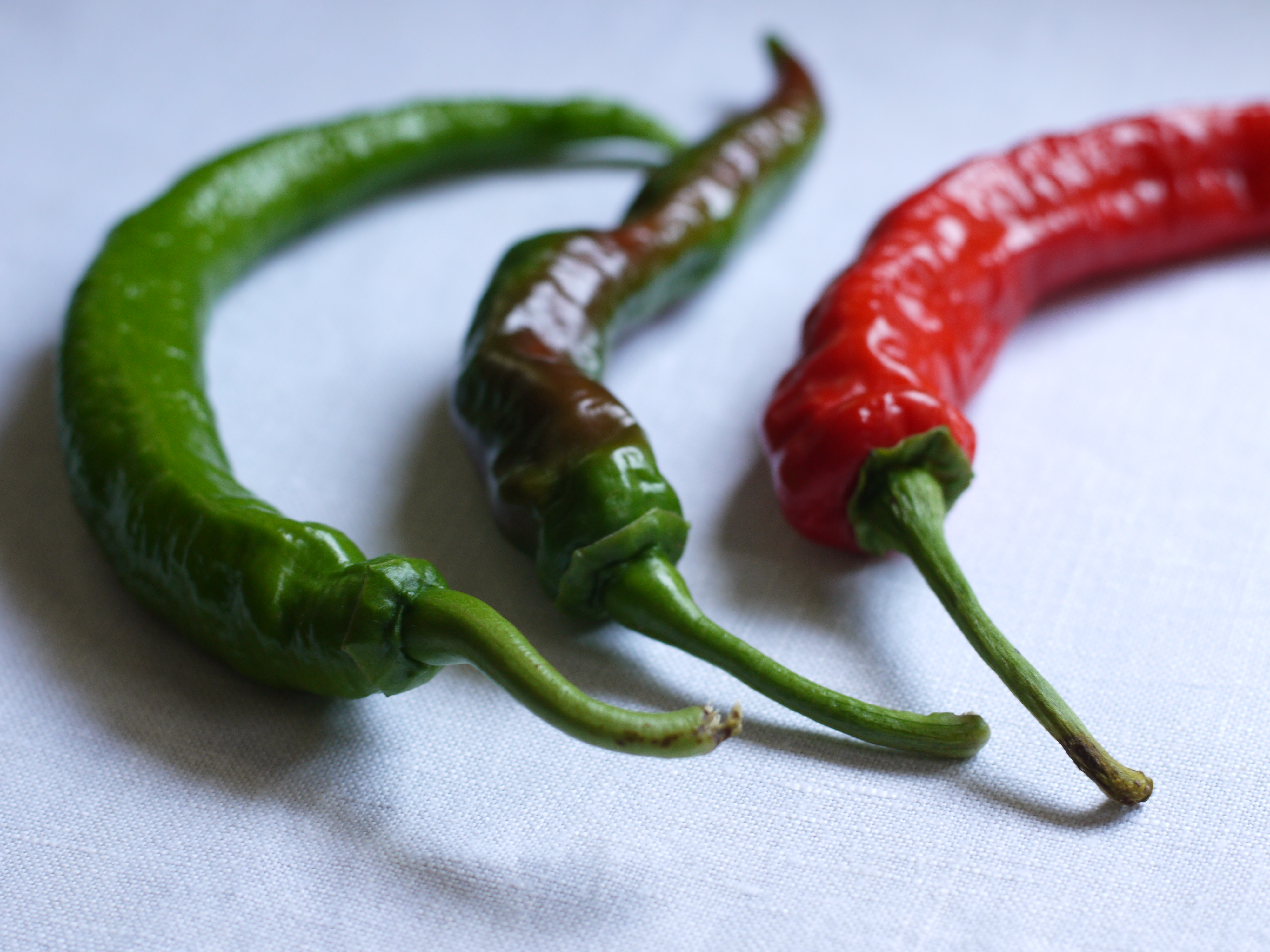 Green and Red Cowhorn Peppers