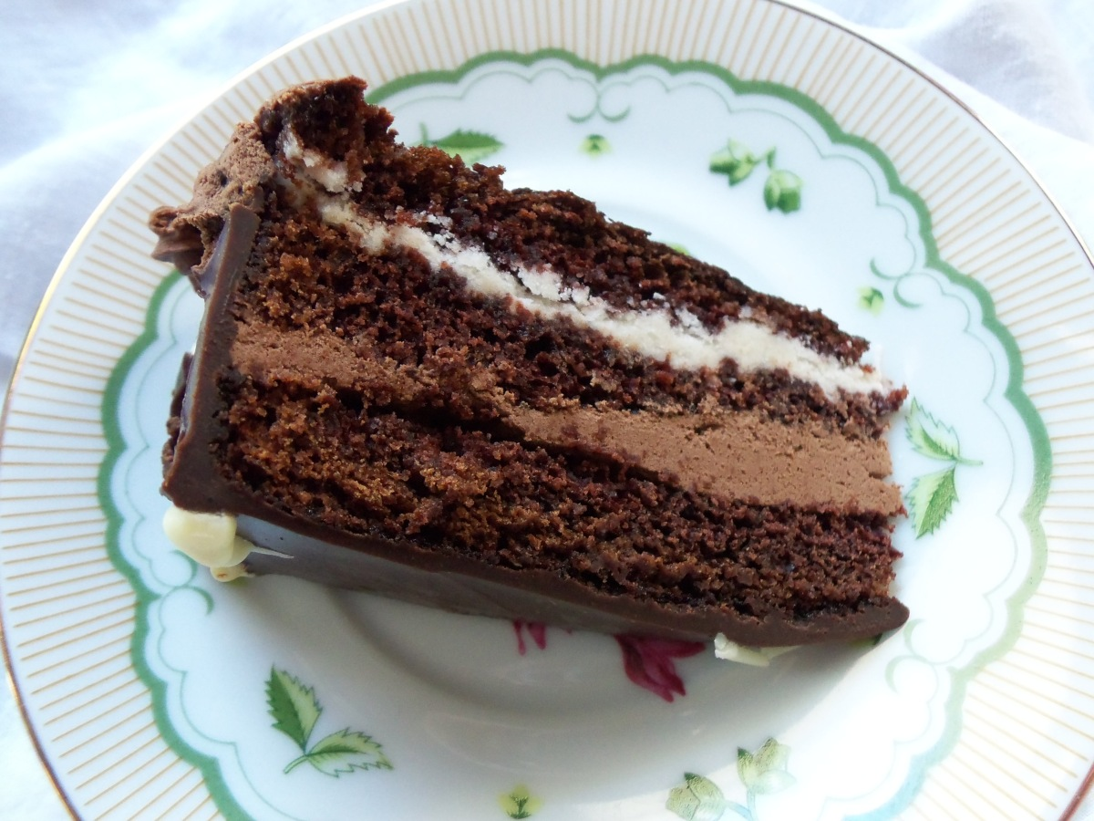 Slice of Chocolate Ganache Opera Cream Cake