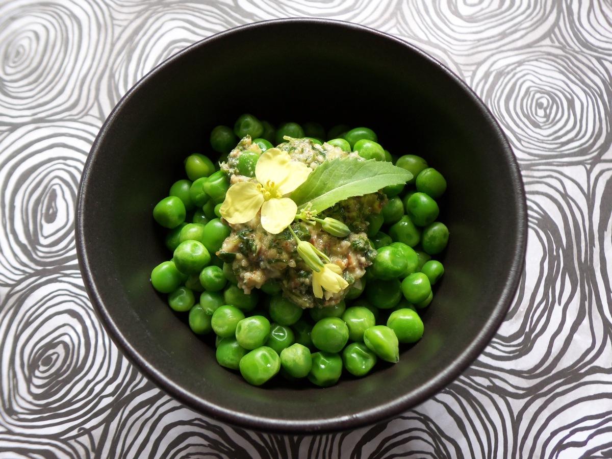 peas with spring greens pesto