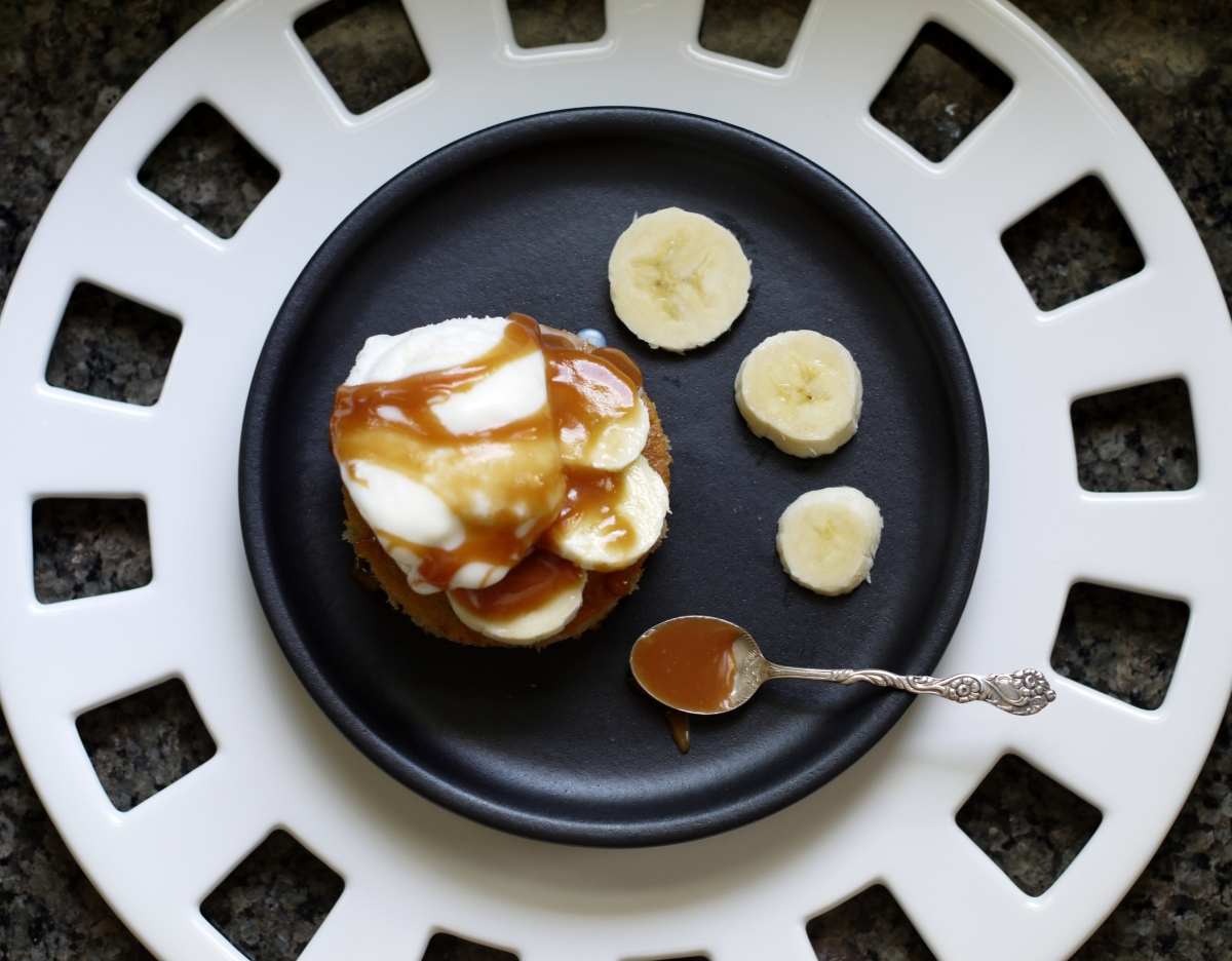 Banana Snack Cake with Caramel Sauce