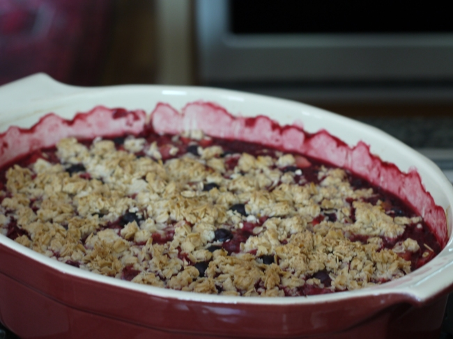 Fruit Cobbler for a Crowd in Casserole