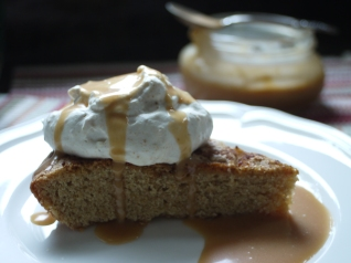 apple cider caramel on applesauce cake