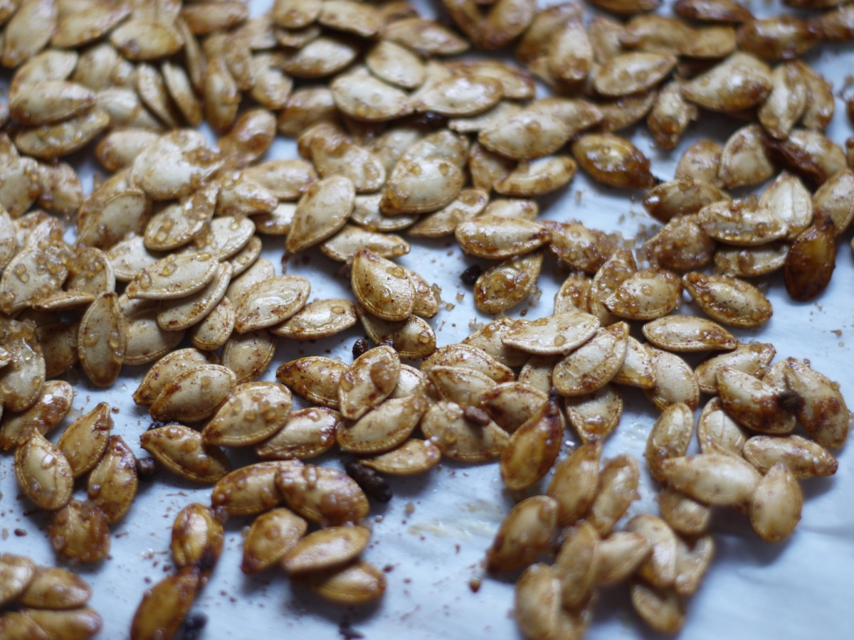 pumpkin seeds after roasting