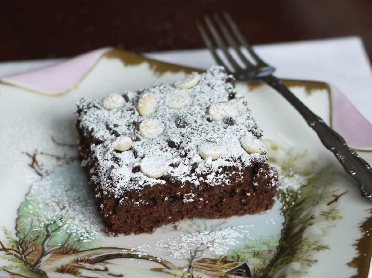 choc pan cake slice on plate