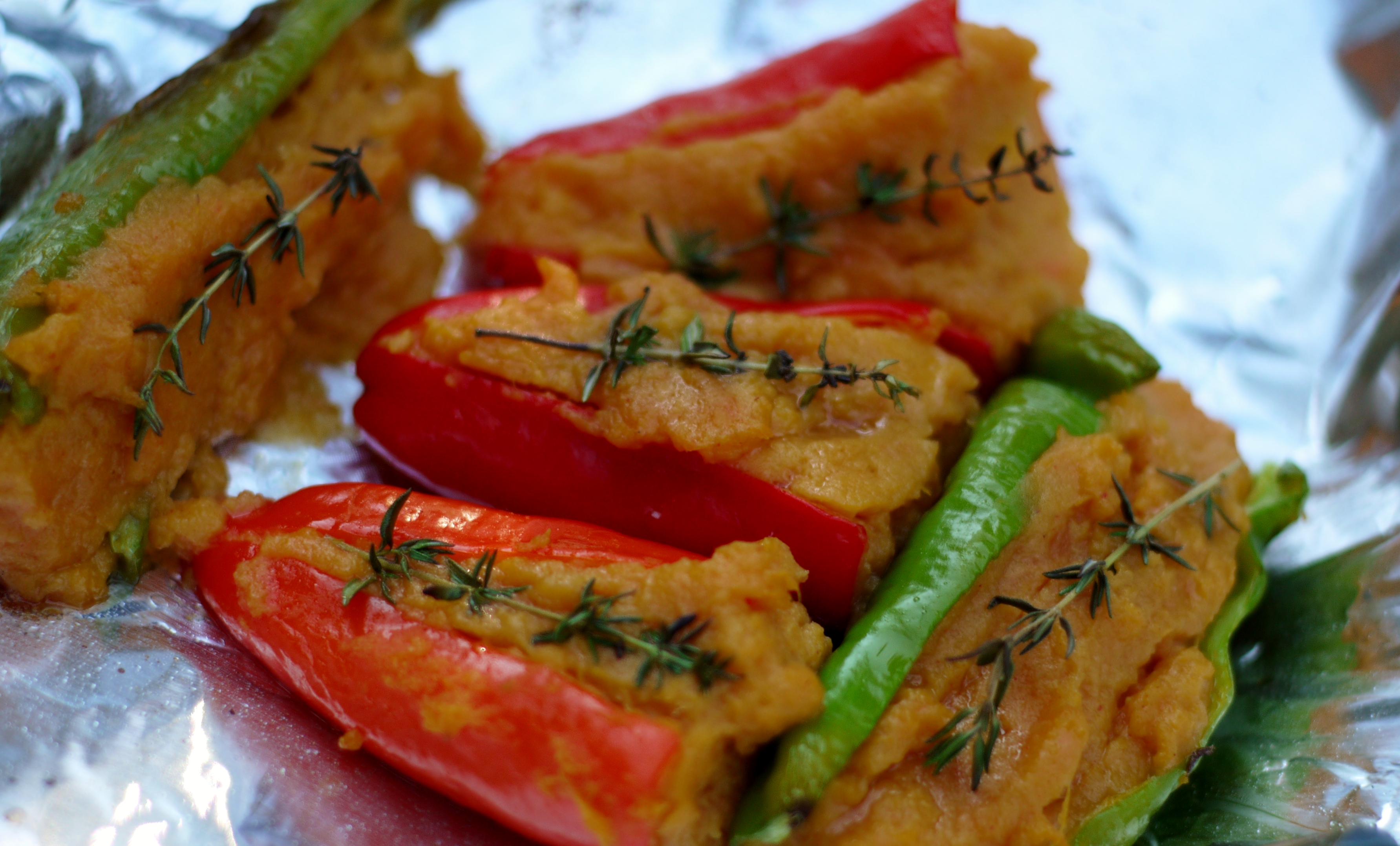 Sweet Potato Stuffed Cowhorn Peppers