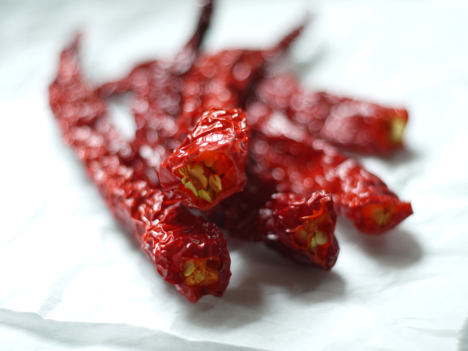 Dried Red Cowhorn Peppers