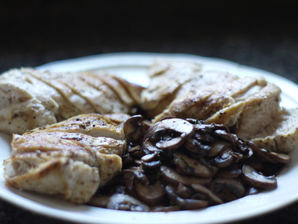 Chicken and Mushrooms on Plate